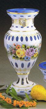 Überfangemail Vase Höhe 43 cm weiss-blau handgeschliffen und handbemalt