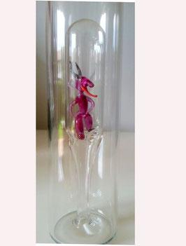 Flasche mit rotschwarzem Teufen 0,2 L., Höhe ca 330 mm
