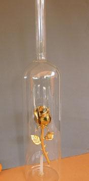 XXL-Riesenflasche Höhe ca. 480 mm Inhalt ca. 2,00 Liter mit goldene oder rote Rose