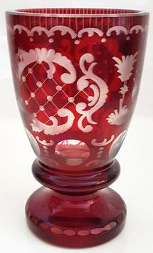 Egermann rot Becher Vase mundgeblasen und handgeschliffen antik und selten Höhe ca.15 cm Durchmesser ca. 9 cm