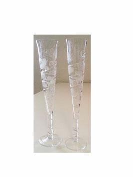 Antikes mundgeblasenes Wein oder Sektglas, geschliffen, Höhe ca. 295 mm, oben Durchmesser ca.45 mm