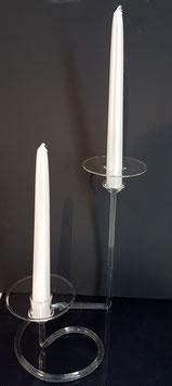 Kerzenständer aus Glas für zwei Spitz oder stab Kerzen Höhe ca 250 mm klar oder satiniert