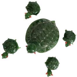 Schildkröten Set aus Glas 5teilig,  Mutter Höhe ca.20 mm Länge ca 30 mm, Kinder Länge ca 10 mm