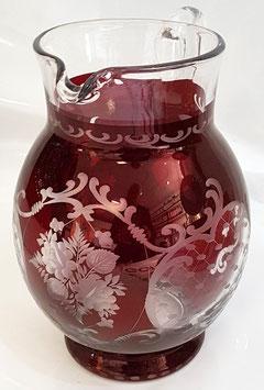 original Egermann Karaffe Krug mit Henkel Höhe 19,5 cm rubyrot handgeschliffen