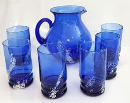 Glaskrug mit 6 Gläser blaues Glas mit weiß mundgeblasen Inhalt 1,5 L. Höhe ca 20 cm, Glas 12 cm hoch