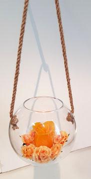 Kugelvase zum hängen, Klarglas mundgeblasen, Durchmesser 15 cm, Höhe ca. 13 cm, Öffnung ca 8 cm, mit Juteseil 6 mm, Länge ca. 0,8 Meter im aufgehängtem Zustand ca. 30 cm, ohne Deko