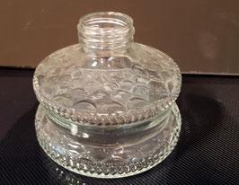 Petroleum Behälter für antike Öllampe mit Spiegel in der Höhe 32,5 cm, Inhalt 0,34 Liter, Durchmesser ca.10,5  cm, Gewinde Durchmesser ca 3,5 cm