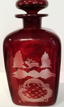 original Egerman rot Glaskaraffe mit eingeschiffenem Glasstöpsel, Hohe ca. 200 mm, ohne Stöpsel ca. 175 mm
