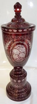 Egermann Antik Glas Pokal mit Deckel böhmische Glas Vase Bonboniere, Schmuckdose, mundgeblasen geschliffen, Sammlerglas Höhe ca. 41 cm und Durchmesser 12 cm