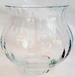 Kugelvase  runde Vase Windlicht Teelichthalter Kerzenhalter Klarglas mit opt. Rillen mundgeblasen Höhe ca. 11 cm  Ø 12 cm ohne DEKO