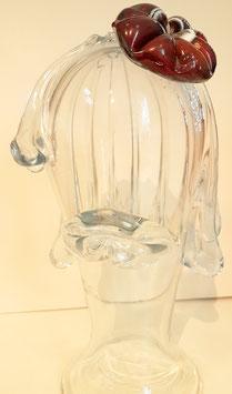 Frauenkopf, Skulptur, Frau mit Blume im Haar, Kristallglas klar und bunt Höhe ca.27 cm Gewicht ca 1,8 Kg