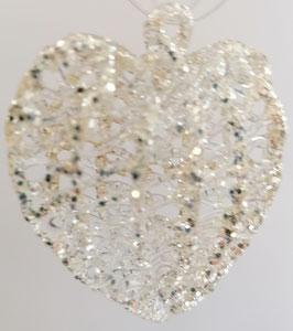 Glasherz zum hängen Kristall Glas silber mundgeblasen Höhe  ca. 6 cm Breite ca. 6 cm Tiefe ca. 2,5