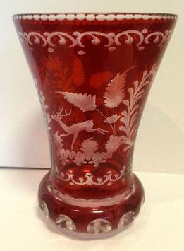 Egermann rot Becher oder Vase alt, Höhe ca.120 mm, Durchmesser oben ca 100 mm