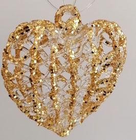 Glasherz zum hängen Kristall Glas gold mundgeblasen Höhe  ca. 6 cm Breite ca. 6 cm Tiefe ca. 2,5