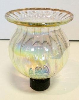 Teelichthalter Kerzenständer Höhe ca. 8,5 cm für Teelichte irisierend mit goldenem Rand und optische rillen und einem Glasstab unten Durchmesser Glasstab 1,8 cm und 1,5 cm Länge mundgeblasen
