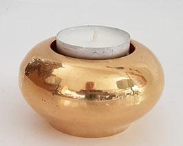 Teelichthalter Kerzenständer Höhe ca. 4 cm Ø 7,5 cm für Teelichte Messing poliert glänzend