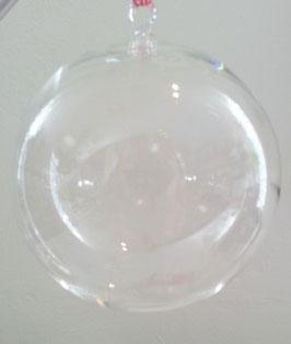Glaskugel zum hängen, Klarglas, mundgeblasen, Durchmesser ca. 10 cm