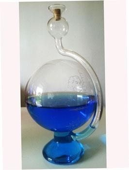Goethe Barometer mit einer Wetterskala zum aufstellen Klarglas 115x200 mm gefüllt mit farbigem destiliertem Wasser, Geschenkskarton