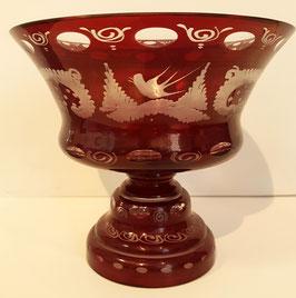 Egermann Schale rot Durchmesser ca. 20 cm Höhe ca.16 cm geschliffen