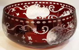 Egermann Schale rot Durchmesser ca. 21 cm Höhe ca. 9 cm geschliffen antik