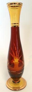 Vase am Fuss Höhe ca. 21 cm Amber - Lazur handgeschlifen