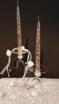 Kerzenständer aus Glas klar mundgeblasen für zwei Spitzkerzen Höhe ca 210 mm Breite ca.18 cm
