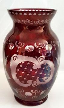 Antike große Glas Vase original Egermann geschliffen und mundgeblasen Höhe 25 cm Öffnung ca. 13 cm
