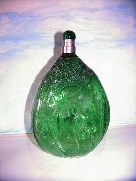 Karaffe mundgeblasen mit Luftbläschen grün mit Zinnverschraubung (Lebensmittel geeignet) Inhalt 0,5 L. Höhe 200-210 mm