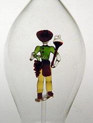 Karaffe, Flasche 0,5 L. mit farb. Winzer
