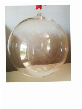 Glaskugel zum hängen, Klarglas, mundgeblasen, Durchmesser ca. 16 cm