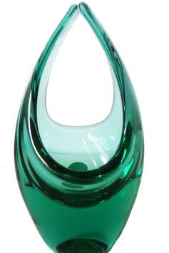 Glaskorb mundgeblasen transparentes grün Höhe ca. 19 cm