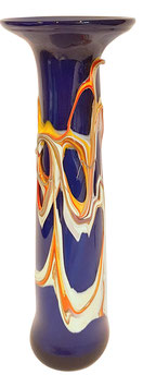 Glasvase schmal modernes Unikat für Einzelblumen mundgeblasen mit augetragenem Dekor, Grundfarbe kobalt blau, Höhe ca. 32 cm
