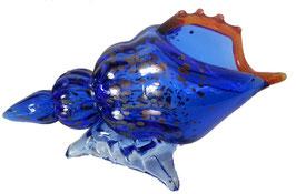 Glasmuschel mundgeblasen modernes Objekt oder Vase Länge ca 22 cm blau - klar