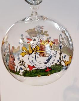 Glaskugel zum hängen, Klarglas mit farbige Gänse mundgeblasen, Durchmesser 6 cm