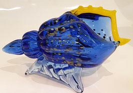 Glasmuschel modernes Objekt  Vase mundgeblasen Länge ca. 18 cm blau-klar