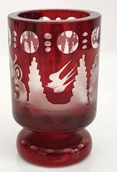 Egermann rot Becher kleine Vase mundgeblasen und handgeschliffen antik und selten Höhe ca.8,5 cm Durchmesser ca. 5,3 cm