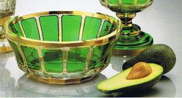 Leistenschliff Mundgeblasene Schale Durchmesser ca 23 cm handgeschliffen und handbemalt mit 24 karat Gold veredelt