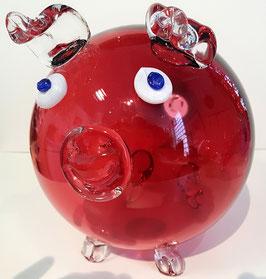 Riesen dekoratives Schwein, rotes Kristallglas, mundgeblasen, Länge ca. 25 cm, Duchmesser ca 18 cm, Höhe ca. 21cm, jedes Stück ist ein Glas unikat
