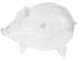 Riesen Schwein Spardose - Schwein klares Kristallglas mundgeblasen, Länge ca. 24 cm und eine Breite von 14-15 cm
