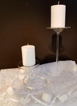 Kerzenständer aus Klarglas für zwei Kugel Kerzen Stumpen oder Teelichte Höhe ca 250 mm Breite ca. 220 cm klar