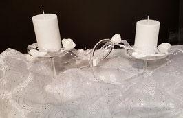 Kerzenständer aus Klarglas mundgeblasen für zwei Kugelkerzen, Stumpen oder Teelichte Höhe ca 100 mm Länge ca. 36 cm klar oder satiniert, ohne Dekoration
