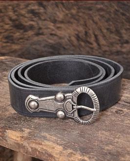 Alamannischer Ledergürtel, schwarz mit silberfarbener Schnalle