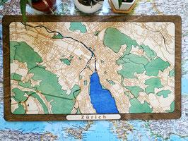 Design Stadtkarte Zürich 3D Holzkarte Woodmap Gelasert Handarbeit Karte Landkarte aus Holz