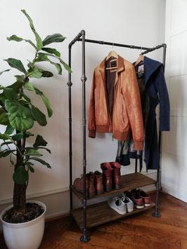 Vintage Design Kleiderständer aus Rohren mit Schuhregal Industrial Garderobe