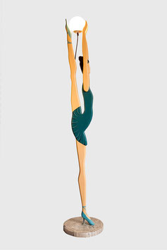 "XXL Ballerina Design Stehlampe Art Nouveau aus Holz Handarbeit Retro Skitso Leuchte ""GREEN DRESS"""