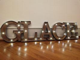 GLACE Retro Leuchtbuchstaben Schweiz LED Buchstaben Vintage Gelateria Beschriftung