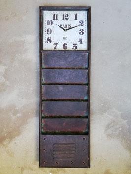 Industrie Wanduhr aus Eisen Paris Industrial Uhr mit Magainfächern Eingang Vintage Eisenuhr Briefhalter Board