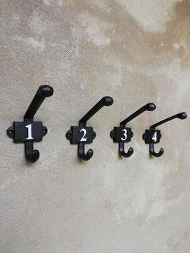 Nummerierte Vintage Gusseisen Haken Loft Wandhaken Nummern 1,2,3,4 Eisenhaken Schwarz Industrial Retro Style