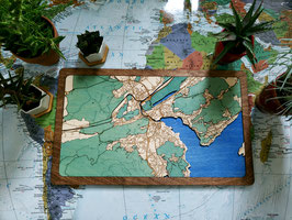 Design Stadtkarte Luzern 3D Holzkarte Woodmap Gelasert Handarbeit Karte Landkarte aus Holz