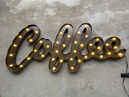 Coffee Wanddekoration LED Leuchtschrift Coffeeshop Rusty Metall Buchstaben